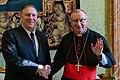 Secretary Pompeo Shakes Hands with Cardinal Parolin (48831176406).jpg