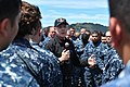 Secretary of the Navy (SECNAV) Ray Mabus holds an all-hands call with Sailors assigned to Arleigh Burke-class guided-missile destroyer USS Sampson (DDG 102)(31064700401).jpg