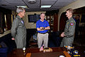 Secretary of the Navy Ray Mabus, center, speaks with U.S. Navy Capt. William C. Hamilton Jr., left, the commanding officer of the aircraft carrier USS Enterprise (CVN 65), and Rear Adm. Walter Carter Jr 120806-N-FI736-016.jpg