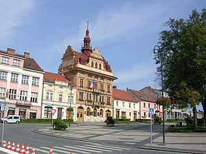Sedlčany - Masaryk square and town Hall