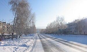 Selenginsk - Stroiteley Avenue is the central street of Selenginsk