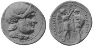 Greeks in Syria - Silver coin of Seleucus. Greek inscription reads ΒΑΣΙΛΕΩΣ ΣΕΛΕΥΚΟΥ (king Seleucus).