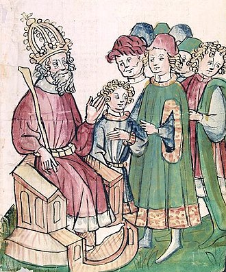 Seven Wise Masters - Emperor Pontianus, his son Diocletian and the seven wise masters (Cod pal. germ 149 at Heidelberg)