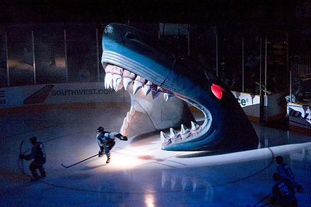 Sharks pre-game entrance through the Shark's mouth Shark head.jpg