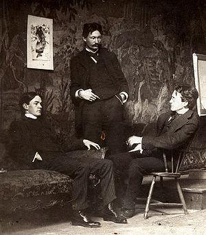 American Realism - Ashcan School artists, c. 1896,   l to r, Everett Shinn, Robert Henri, John French Sloan