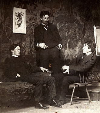 American Realism - Ashcan School artists, c. 1896,   l to r, Everett Shinn, Robert Henri, John French Sloan