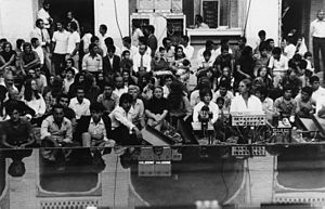 Mantra (Stockhausen) - Stockhausen at the sound desk for Mantra, Seraye Moshir, Shiraz, 2 September 1972