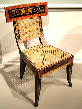 Klismos - Image: Side Chair, designed by Benjamin Henry Latrobe, decorated by George Bridport, Philadelphia, 1808, poplar and maple, gesso, paint and gold leaf, cane seat National Gallery of Art, Washington DSC08808
