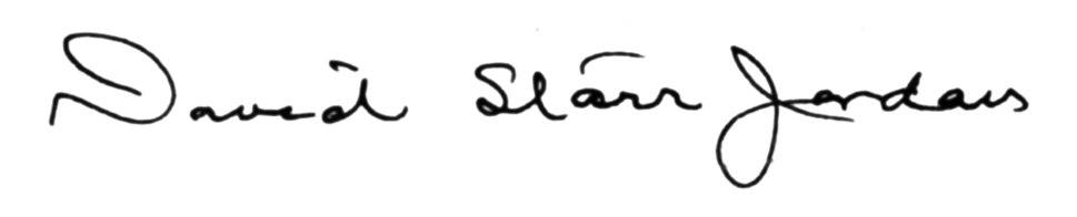 Signature David Starr Jordan (1851-1931)