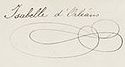 Princess Marie Isabelle o Orléans's signature