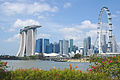 Singapore skyline with iconic structures such as MBS and Singapore Flyer (13381795083).jpg