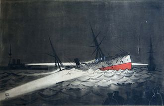 Anchor Line (steamship company) - The sinking of the SS Utopia 1891 eyewitness painting