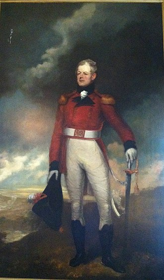 George Prévost - Sir George Prevost with sword from Nova Scotia House of Assembly to commemorate his victory at Martinique. Painting by Robert Field, The Halifax Club, Halifax, Nova Scotia