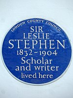 Sir Leslie Stephen 1832-1904 scholar and writer lived here.jpg