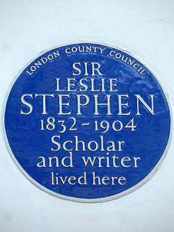 Sir leslie stephen 1832 1904 scholar and writer lived here