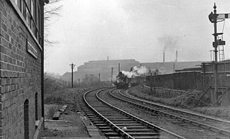 Brymbo Steelworks - Freight train with the steelworks' Melting Shop in the background, 1962