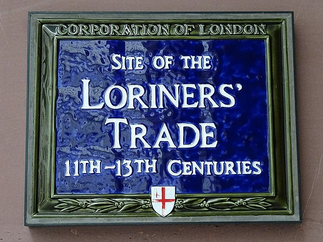 Blue plaque № 6136 - Site of the Loriners' Trade 11th - 13th Centuries