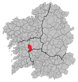 Situation of Forcarei within Galicia