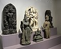 Six Hinduism deities. Surya, Parvati, Hanuman, Lakshmi, Vishnu, and Indra. All of them came from India, except Vishnu (from the Thai-Cambodian border). Various eras. National Museum of Scotland, Edinburgh.jpg