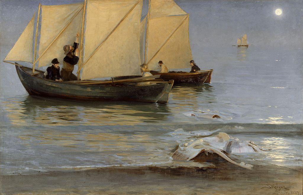 Skagboere går ud på nattefiskeri. Sildig Sommeraften.jpg
