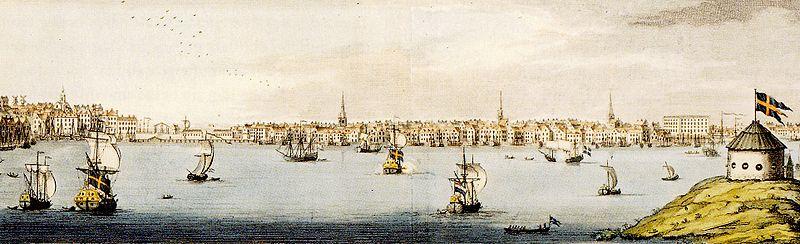 Så præsenterede Stockholm sig for besøgende i 1700-tallet, vy fra Kastelholmen, maling af Johan Mynde i 1725.