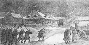 Fort Fetterman - General Crook's Headquarters, Fort Fetterman. Etching from Harper's Weekly, December 16, 1876