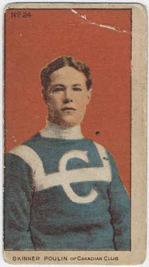 Skinner Poulin - A cigarette pack hockey card showing Poulin in the original Canadiens uniform of 1910.
