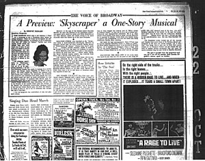 Skyscraper (musical) - The New York Journal-American ran Dorothy Kilgallen's mixed review of Skyscraper under a neutral headline in its afternoon and evening editions of Friday, October 22, 1965 on page 19.