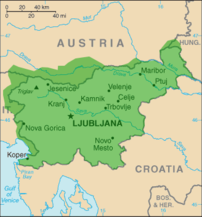 Map showing the distribution of the Slovenian ...