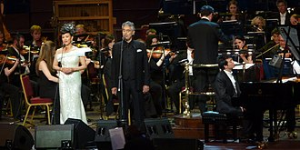 Song Zuying - Song Zuying, Andrea Bocelli and Lang Lang (at the piano) performing Time to Say Goodbye at the East Meets West concert.