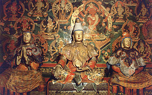 Valley of the Kings (Tibet) - Songtsän Gampo (centre) Princess Wencheng (right) and Bhrikuti Devi of Nepal (left)