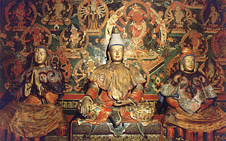 Songtsen Gampo - Songtsen Gampo (centre), Princess Wencheng (right) and Bhrikuti Devi of Nepal (left)