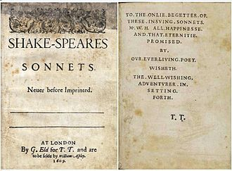 "Oxfordian theory of Shakespeare authorship - Title page and dedication of the Sonnets (1609). The hyphenated name and the phrase ""ever-living poet"" are used as arguments in the authorship debate."