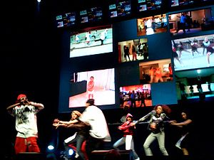 "Soulja Boy - Soulja Boy performing ""Crank That (Soulja Boy)"" in February 2008."