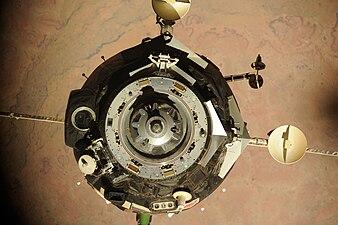 Soyuz TMA-16 relocates from Zvezda Service Module to Poisk module.jpg
