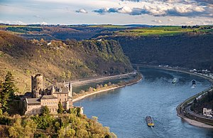 Rhine Gorge - St. Goarshausen, castle Katz with Loreley rock in the Rhineland-Palatinate