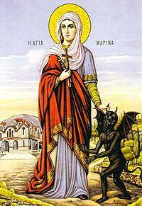 St.Marina the Martyr holding a devil.jpg