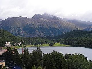 Lake St. Moritz reservoir in Graubünden, Switzerland
