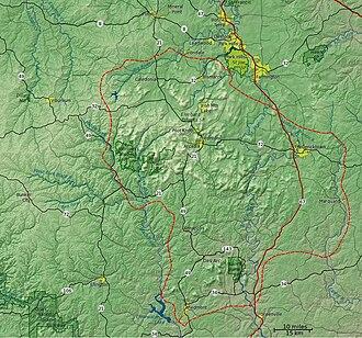 St. Francois Mountains - Detail map of the St. Francois Mountain region