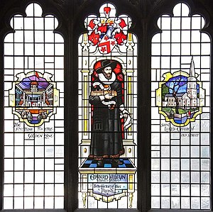 Fortune Playhouse - A depiction of the Fortune in a stained glass memorial to Edward Alleyn