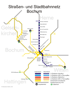 Bochum Stadtbahn - BOGESTRA network map, including U35 line.