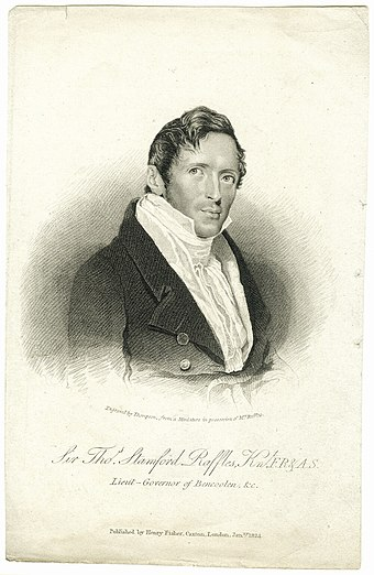 1819: 29 January, Stamford Raffles arrives in Singapore with William Farquhar to establish a trading post for the British East India Company. 8 February, The treaty is signed between Sultan Hussein of Johor, Temenggong Abdul Rahman and Stamford Raffles. Farquhar is installed as the first Resident of the settlement. StamfordRaffles.jpeg