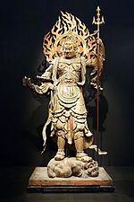 Standing Komoku Ten (Virupakusa), Heian period, 12th century, wood with polychromy and cut gold leaf - Tokyo National Museum - DSC05100.JPG