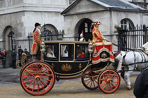 Glass coach - The Glass Coach returning the Ladies in Waiting to Buckingham Palace after the State Opening of Parliament, 2008.