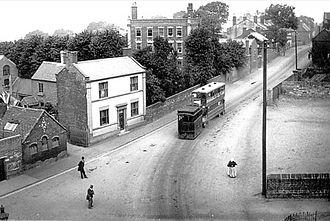 Sedgley - Steam tram at Bull Ring, Sedgley, in the early 20th century