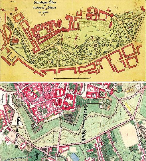 Steiermark-Graz-Stadtpark-Situationspläne-Vergleich-(1878-zu-1820)