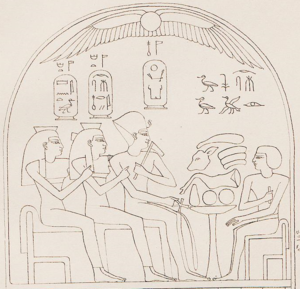 Ahmose-Sitamun - Sitamun (far left) on a stele from Karnak