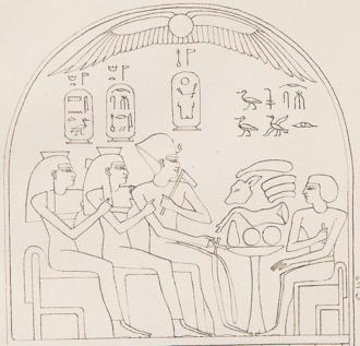 Ahmose-Sitamun - Sitamun (far left) on a stele from Karnak