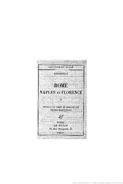 File:Stendhal - Rome, Naples et Florence, II, 1927, éd. Martineau.djvu
