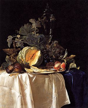Willem van Aelst - Still-Life with Fruit and Crystal Vase 1652